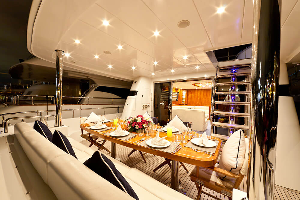The Samaric Aft Deck offers al fresco dining.