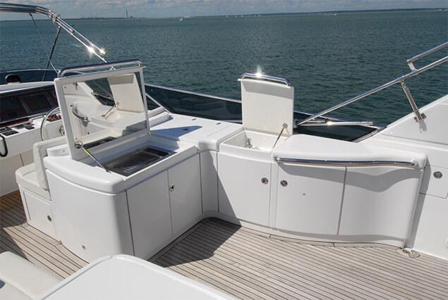 Samaric Motor Yacht's luxury flybridge area.